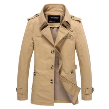 Long Section Fashion Men Trench Coat Autumn Thin Washed Casual Overcoat Turn-Down Collar Jacket Outerwear Design Plus Size M-5XL(China (Mainland))