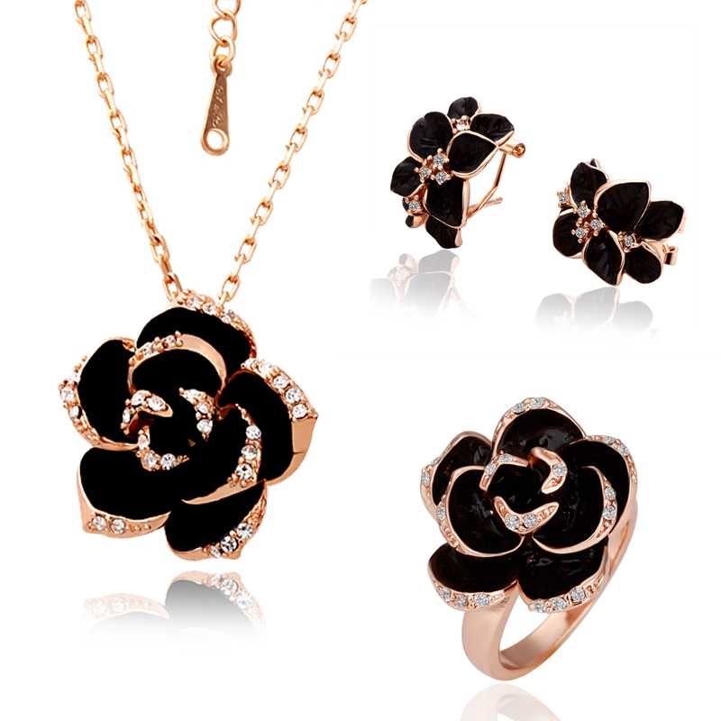 Free Shipping floating charms Austrian Crystal jewelry set Baked black series Costume Jewellery(China (Mainland))