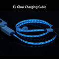 LED EL Mobile Phone Charging Cable LED USB Data sync Charger Cable Lines For Samsung HTC