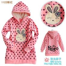 Brand 2016 Spring Girls coat warm 100% cotton Cartoon clothes with Hat  sweatshirt  with fleece f1228 (CC007)(China (Mainland))