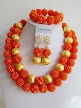 Fashion costume jewelry set nigerian wedding african beads jewelry set orange ball ABD672(China (Mainland))