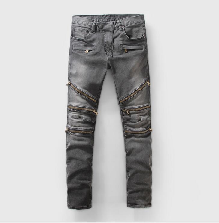 DHL Free Shipping Jeans Men Cool Denim Biker Slim Stretch Jeans Kanye Straight jeans Skinny Gray Jeans Men(China (Mainland))