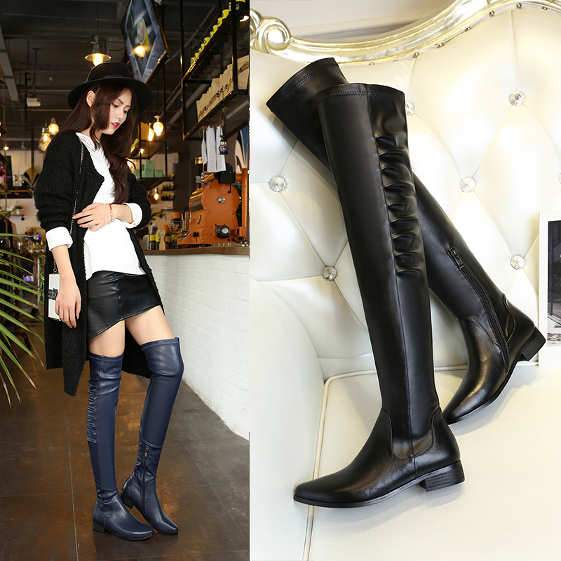 High quality Fashion Women Genuine leather Motorcycle boots Flat Sexy Female Over-the-Knee Boots Winter shoes 2.4(China (Mainland))