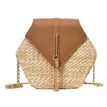 Moda hexágono mulit estilo palha + saco do plutônio bolsas femininas verão rattan saco(China)