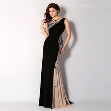 2017 Black Women One Shoulder Beaded Crystals Rhinestone Evening Gowns Prom Gown Mermaid Evening Dresses Long With Sleeves(China (Mainland))
