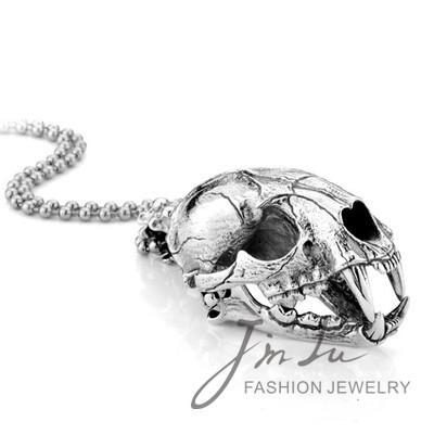 Fashion Big Animal Skull Head Pendant Vintage Awesome Jewelry Smilodon Skull Pendant Necklace Free Shipping