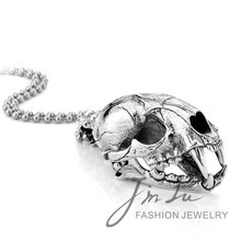 Fashion Big Animal Skull Head Pendant Vintage Awesome Jewelry Smilodon Skull Pendant Necklace Free Shipping