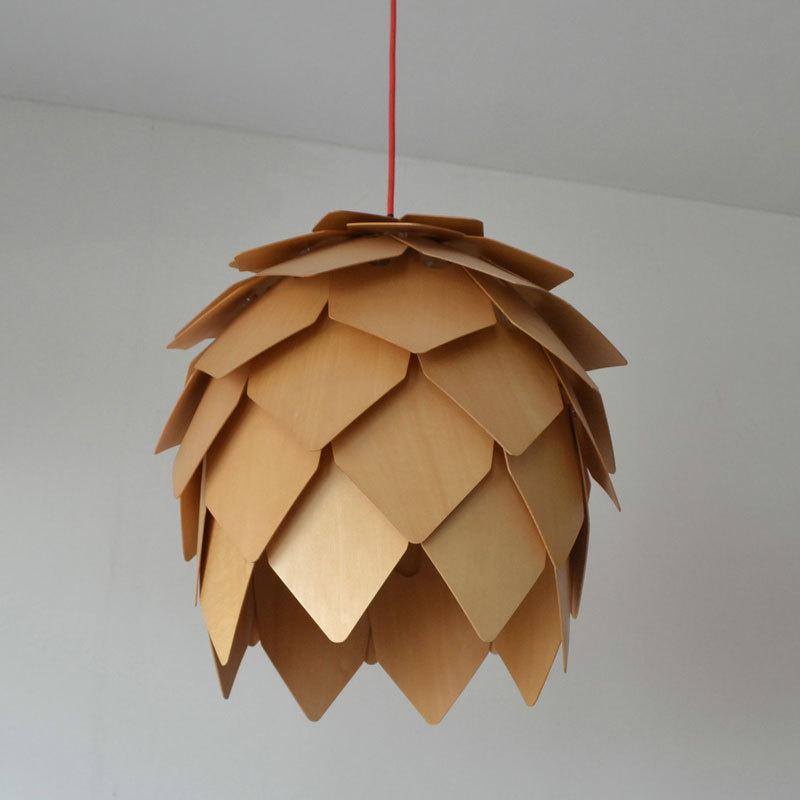 Modern Ikea Wood Pinecone Kitchen Pendant Lights Muuto Pendant Lamps For Dinn