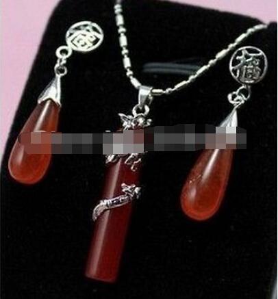 free shipping 0064 Elegant red Jade Dragon Pendant necklace Earring set(China (Mainland))