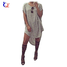 QY 2016 New Arriving Oversized Summer Dress Loose Knitted Sweater Dress O-neck Short Batwing Sleeve Gray Color Girl Party Wear