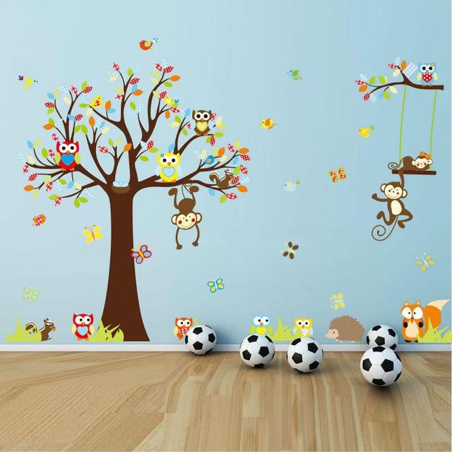 4 шт./лот симпатичные жираф обезьяна сова играя на деревьях стены стикеры для детей номеров стен настенная детские стены декор