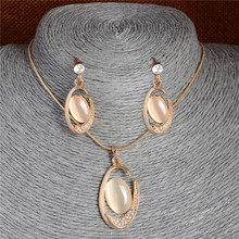 Wholesale Hot 18K Gold Plated Special C Cat's Eye Pendant Necklace Earrings Fashion Jewelry Sets(China (Mainland))