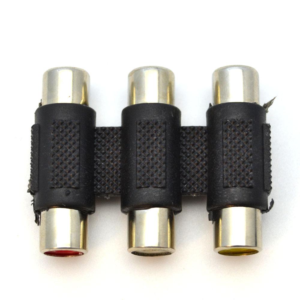 2pcs lot 3 RCA Female to Female F F Audio Video AV Coupler Converter Red White