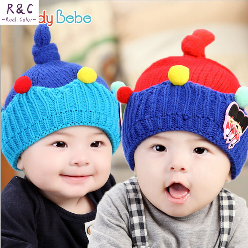 2015 Korean baby Hat sets head cap baby modeling new autumn and winter wool hat children baby boy crown(China (Mainland))