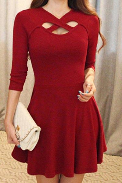 Cute Mini Party Dresses Vestidos Simple V-Neck 3/4 Sleeve Solid Color Hollow Criss-Cross Dress Women - Fashion store