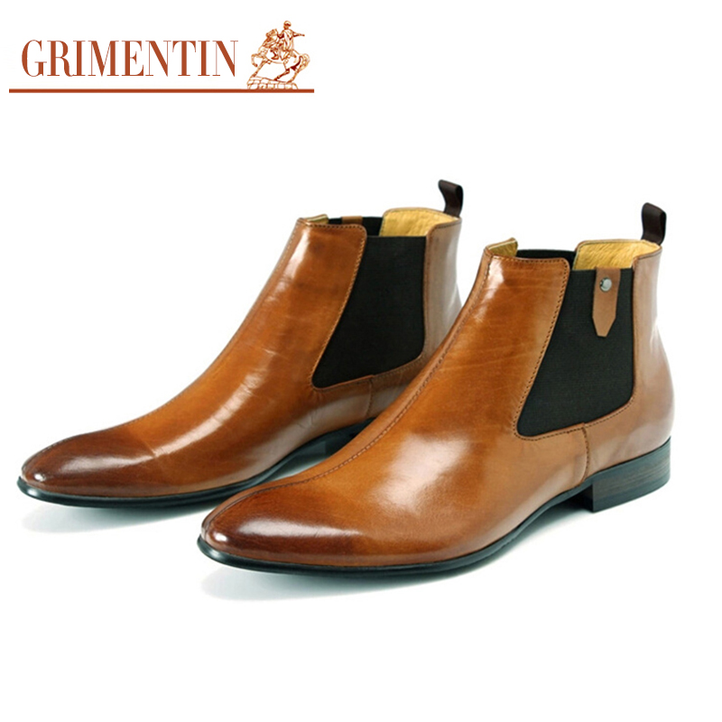 GRIMENTIN luxury cowboy fashion oxford mens ankle boots genuine leather orange men shoes business size:38-44 - store