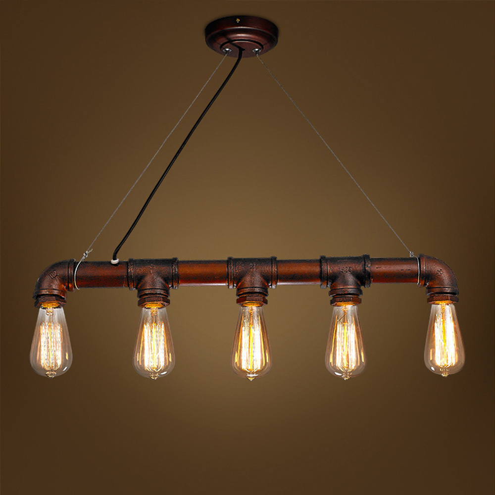 Retro steampunk water pipe iron pendant lamp e27 rustic - Imagenes lamparas de techo ...
