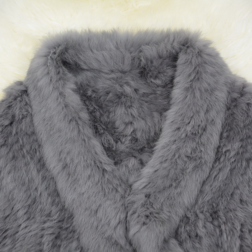 S1025 Wholesale / Retail Thick Knitted Lady Real Rabbit Fur Poncho Or Women Fur Bride Shawl