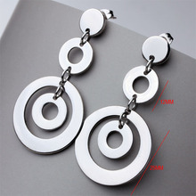 Hot Sale Stainless Steel Fashion Silver Round Design Ear Stud Earrings For Women Cheap Eardrop Trendy Ladies Jewelry 2016 (A607)(China (Mainland))