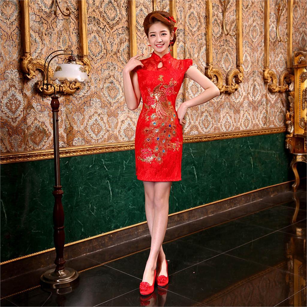 robe de soiree courte Bride chinese style summer fashion evening dress cheongsam married short design lace cheongsam