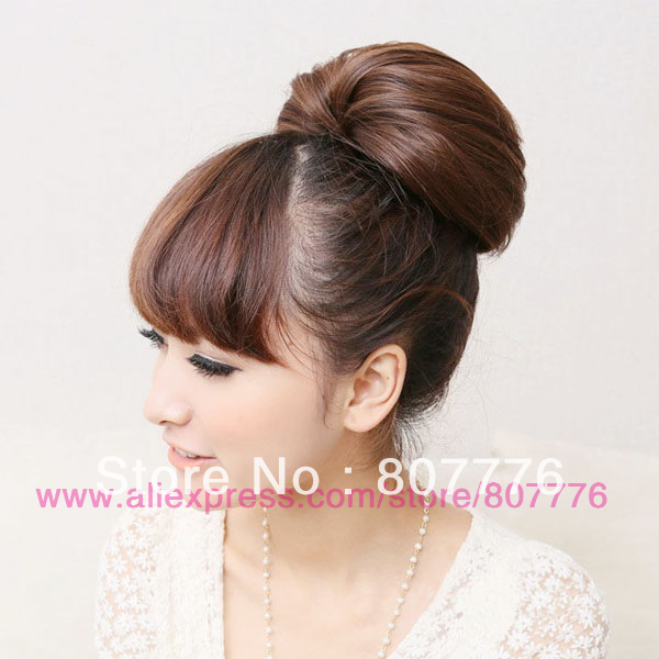 Big Hair Bun Wig Clip On Ponytail For Bride Gift On Shape