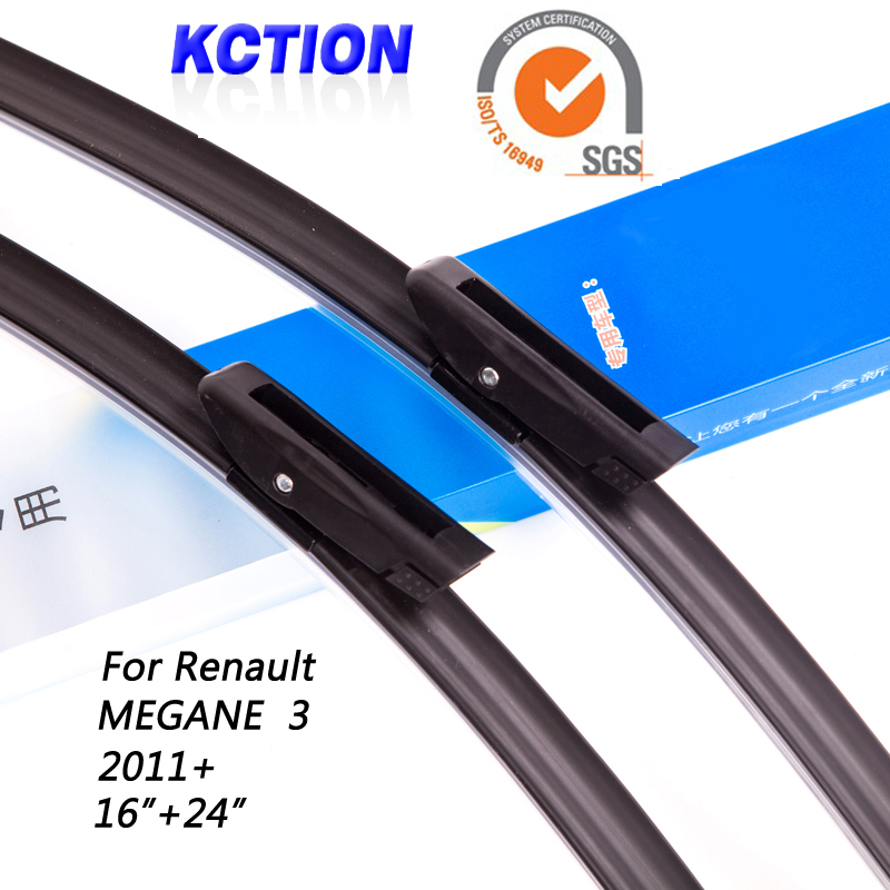 "Car Windshield Wiper Blade For Renault MEGANE 3 (2011+) , 16""+24"", Natural rubber, Bracketless, Car Accessories(China (Mainland))"