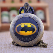 New Fashion Black Batman Black/Bronze/Silver Dome Gemstone Pendant Necklace Quartz Pocket Watch Men Women Pocket Fob Watch Gift(China (Mainland))