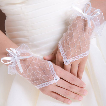 DropShipping Free**Sexy Lace Gloves Wrist Fingerless Wedding Evening Fancy Party Bridal Short GloveHQ0020