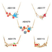 "Wholesale 5 Styles Children Girls Baby Kids Jewelry Cute Brightly Multicolor Flower Leaf Letter 13"" Necklace & Pendant Hot Gift (China (Mainland))"