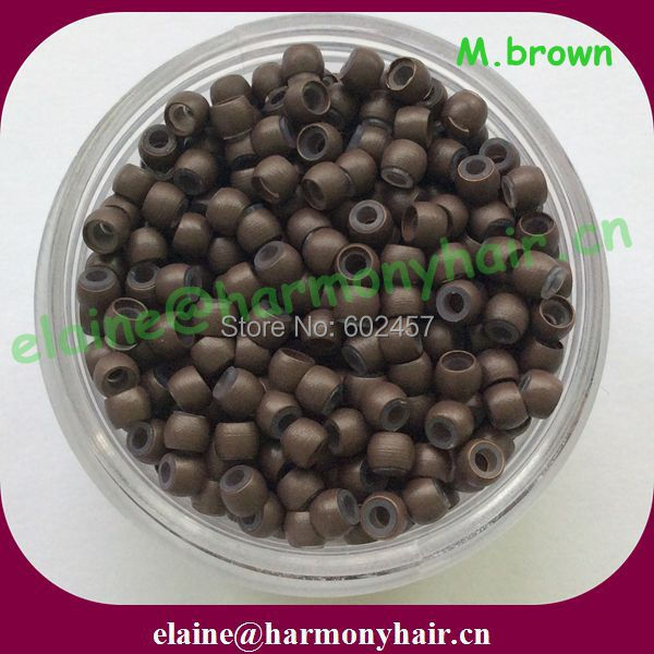 ( 1000pcs/bag, 2.9x1.6x2.0mm )  Medium Brown Copper Nano Rings with Silicone for Nano beads Hair Extensions<br><br>Aliexpress