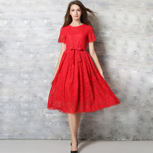 Europe 2016 Spring Summer Women's Lace Openwork Long Dresses Bohemian Femme Casual Clothing Women Sexy Slim Party - Ms Fashion store