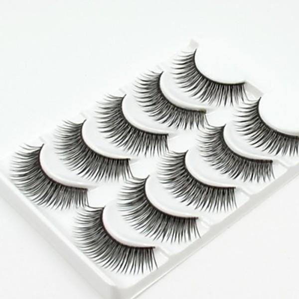 Dreamstar New 5 Pairs European Sytle Natural Black Long Thick False Eyelashes Party Eyelash for Beauty Makeup(China (Mainland))