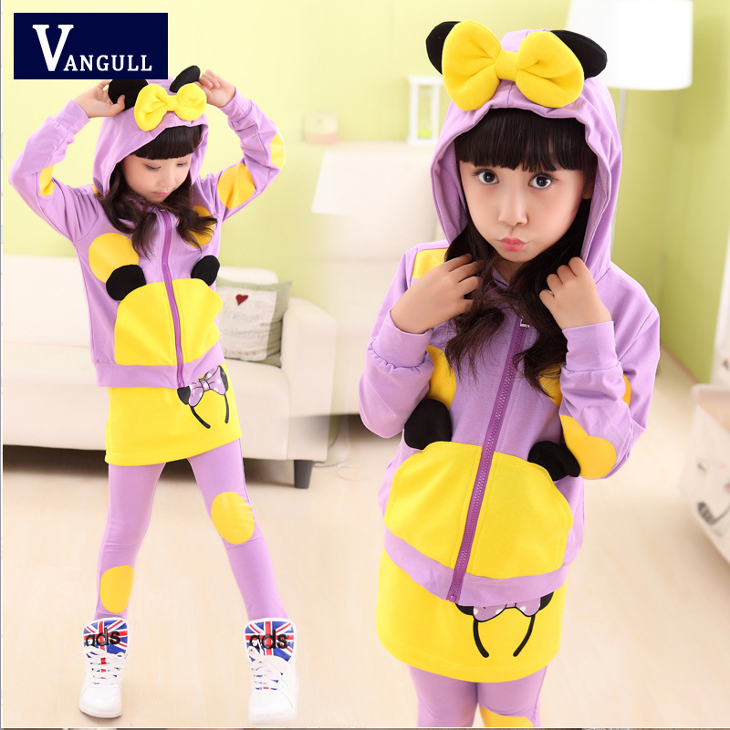 The child's children in the new spring 2016 Korean girls cartoon stamp wholesale leisure suit(China (Mainland))