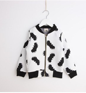 2014 Autumn baby boy jacket black white long sleeve full printed bat jacket kids boys jacket children casual jackets 5pcs/lot<br><br>Aliexpress