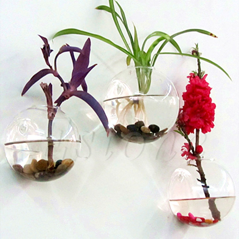 Wall vases for flowers - S Home New Wall Hang Glass Flower Planter Vase Terrarium Container Home Garden Decor Ball