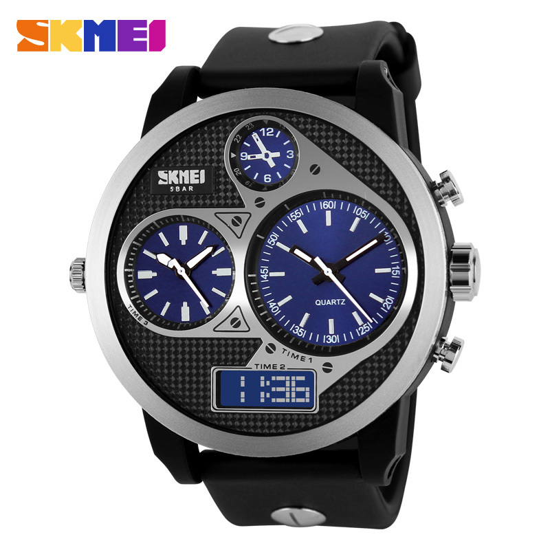 Fashion SKMEI Cool Sport 50m Waterproof LED Digital Analog Round Dial Wristwatch Band Multiple Time Zone