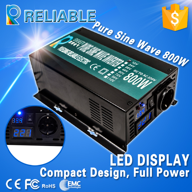 High frequency 800w Continuous 1600w Peak power generator off grid Pure Sine Wave Solar Power inverter DC to AC home converter(China (Mainland))
