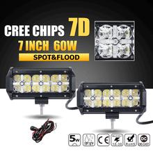 "Oslamp 7D CREE Chips 60W 7"" LED Light Bar Offroad Combo Beam Led Work Light Driving Lamp for Truck SUV Boat ATV 4x4 4WD 12v 24v(China (Mainland))"