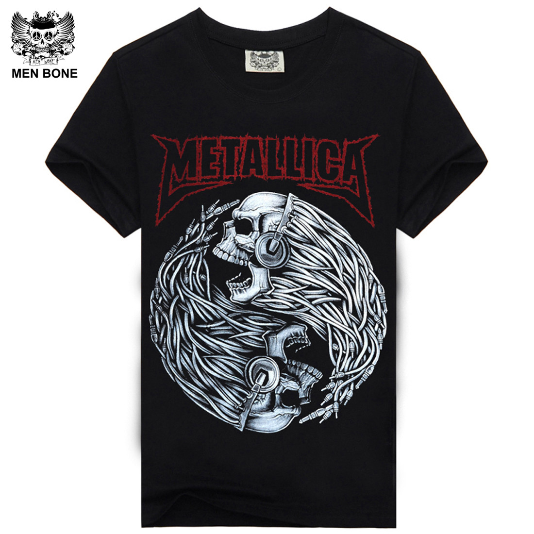 Mne bone Tee Men Black T-Shirt 100% Cotton Metallica Skull Print Heavy Metal Rock Hip Hop Clothing Black short T shirts