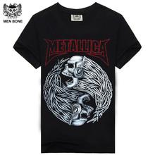 Buy Mne bone Tee Men Black T-Shirt 100% Cotton Metallica Skull Print Heavy Metal Rock Hip Hop Clothing Black short T shirts for $7.27 in AliExpress store