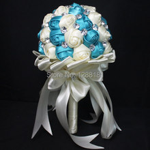 Fatto a mano di alta qualità di perline spilla seta della sposa bouquet di nozze damigella d'onore europa us strass fiore artificiale SP8507s(China (Mainland))