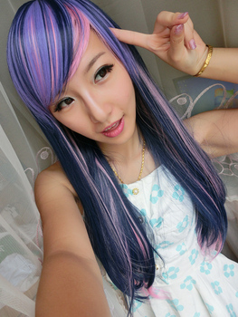 Harajuku Lolita Inclined Bang Anime Ombre Cosplay Wig