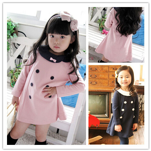 2015 New autumn winter Kids Toddlers Girls dress ,Pearl Bow Cotton Long Sleeve Dress girl clothing 1-7Y(China (Mainland))