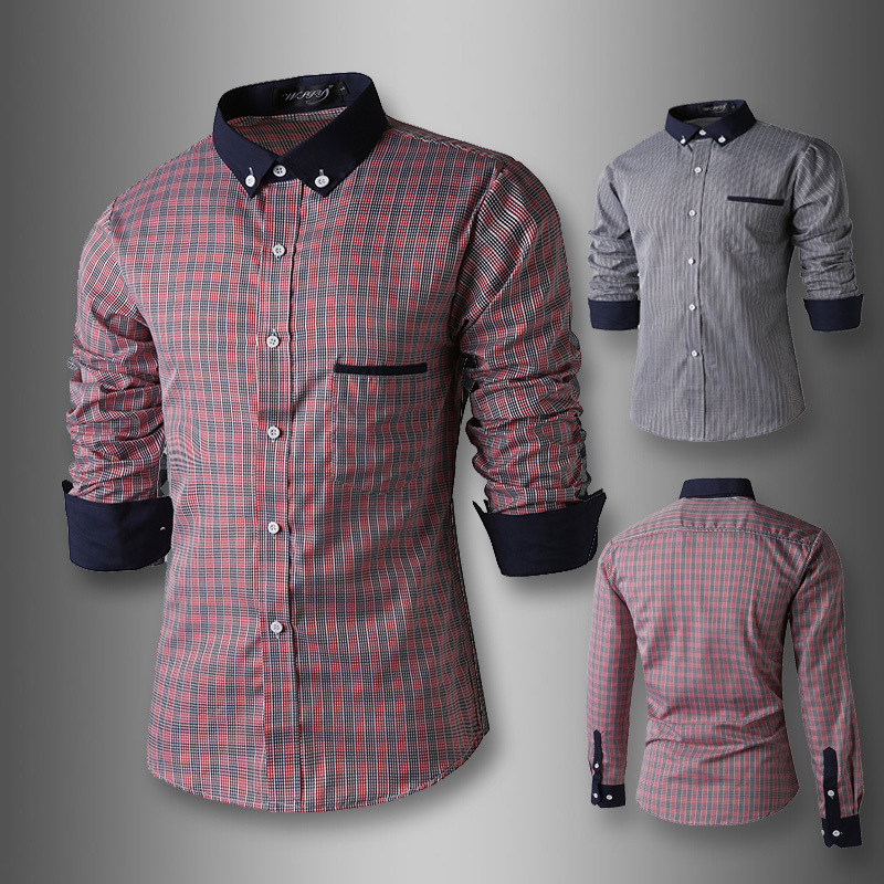2015 New Men Dress Shirt Handsome Plaid Design Long Sleeve Fancy Casual Fashion Slim Fit Men Shirts Gray/Red(China (Mainland))