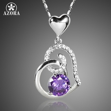 AZORA Purple Stellux Austrian Crystal Heart Pendant Necklace for Valentine's Day Gift of Love TN0182(China (Mainland))