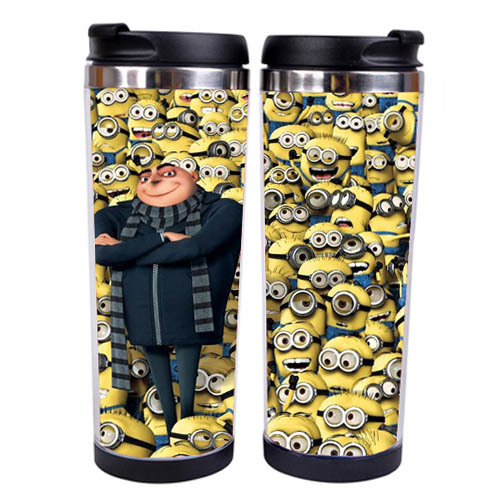 Stainless Steel Liner Anime Despicable Me 2 Cups and Mugs Seal Travel Coffee/Tea Novelty Cup 400ml(China (Mainland))