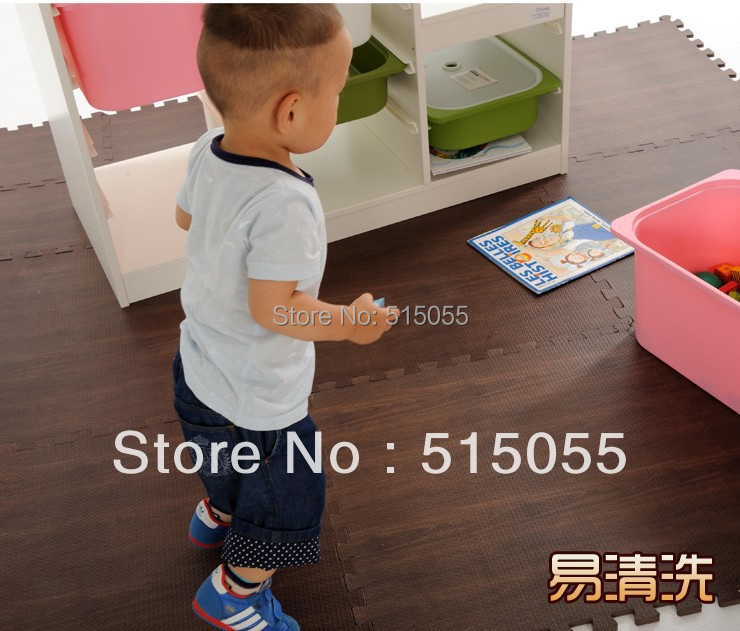 Quality Big Size 60*60CM Wood Grain Baby EVA Floor Mat Children Kids Play Game Pad Baby Crawl Puzzle Mat Eva Foam Carpet 6002(China (Mainland))