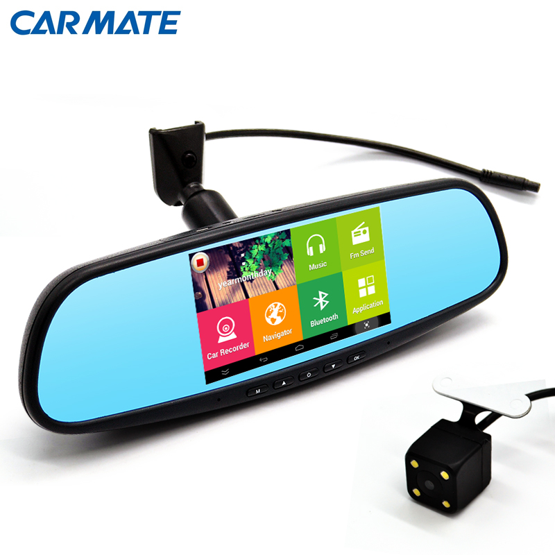 """New 5.0"""" Touch Android 4.4 Rearview mirror FHD 1080P dash camera parking car dvrs video recorder Car DVR Dual Camera GPS(China (Mainland))"""