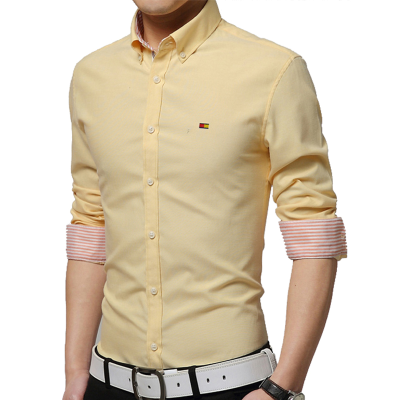 2016 autumn mens dress shirt solid color long sleeve