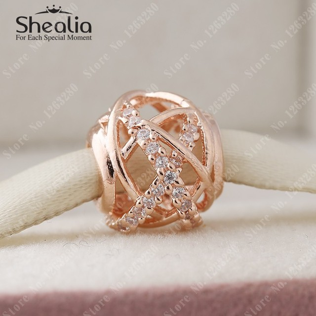 2015 осень 14 К розового золота галактики подвески с CZ 925 ажурные проложить бусины ювелирных украшений подходит DIY браслеты